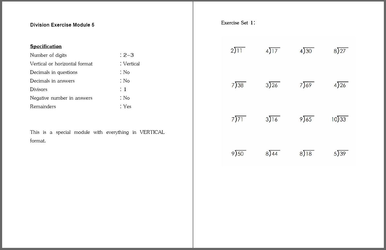 Intensive Math Drill Division Practice Exercises | LanguagePRESS